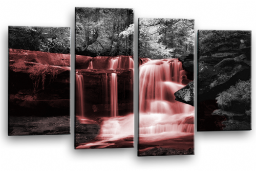 Autumn Forest Waterfall Canvas Wall Art Red Grey Picture Print